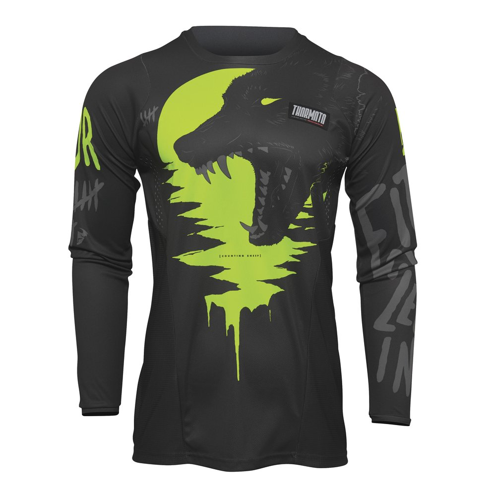 THOR Pulse Counting Sheep Youth Kinder Motocross Jersey grau gelb